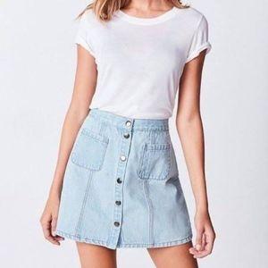 BDG A-Line Denim Button-Front Skirt